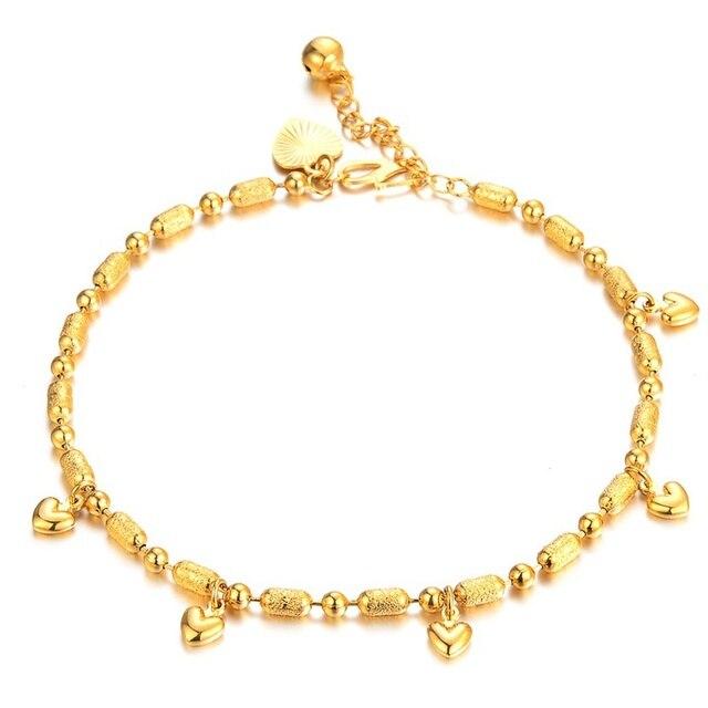 Bracelets de cheville pour bébés filles, Bracelets en or 18Kc, cœur rempli dor, porte bonheur, chaîne de cheville, bijoux à la mode, cadeaux