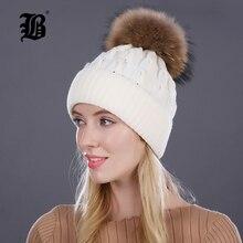 [Flb] Женская зимняя шапка вязаный шерстяной шапки для женщин Девушка 'swinter реального норки пом Англичане Шапочки бренд Толстые женские Cap