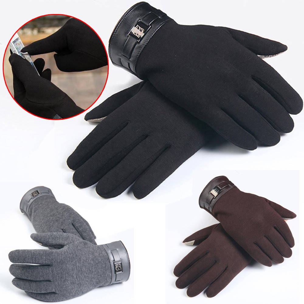 High quality fashion 2017 Winter Mens Full Finger <font><b>Smartphone</b></font> Touch Screen Cashmere <font><b>Gloves</b></font> Mittens