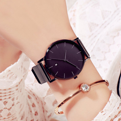Big Black Quartz Watch Women Watches Ladies Fashion Casual Stainless Steel Wrist Watch For Women Clock Female Wristwatch RelogesBig Black Quartz Watch Women Watches Ladies Fashion Casual Stainless Steel Wrist Watch For Women Clock Female Wristwatch Reloges