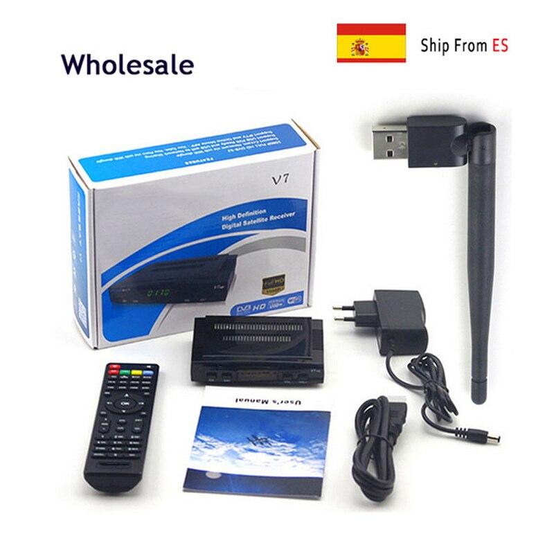 2 pcs Wholesale V7 HD DVB-S2 Receptor Satellite Decoder + USB WIFI HD 1080p Support BISS Key Powervu Satellite Receiver freesat v8 super receptor satellite receiver support powervu dre