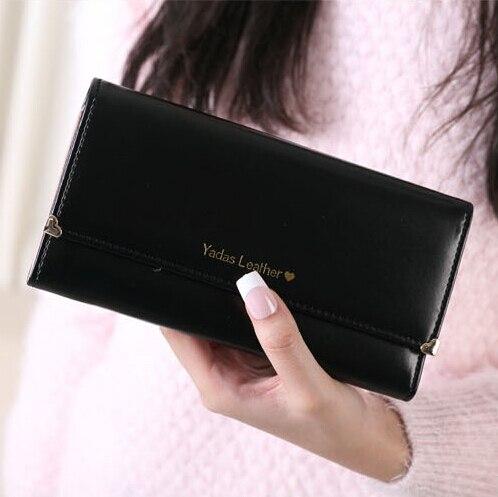 af1f3c915 Nueva para mujer mujeres calientes billeteras de cuero PU bolsos mujeres  carpeta larga elegante mujer negro mujer carteras mujer monedero billetera  de cuero ...