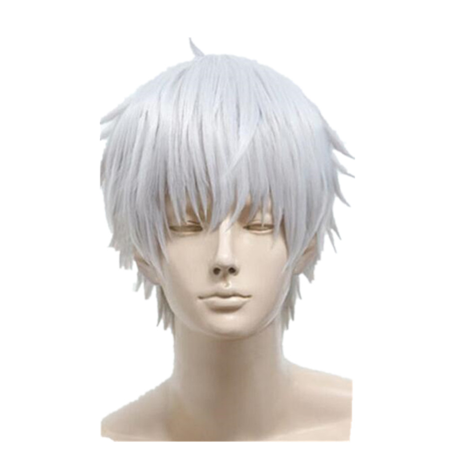 2017 Men Silvery white cosplay anime wig short Synthetic ...