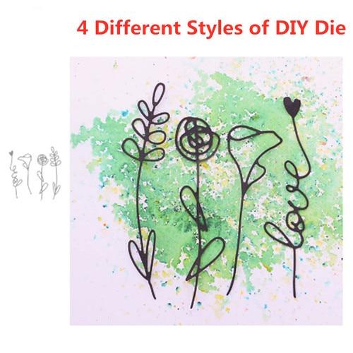 4Pcs Metal Cutting Dies Flower Leaf Decoration Scrapbook Paper Craft Knife Mould Blade Punch Dies Album Decorative Paper Cards