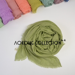 Image 4 - 10pcs/lot New Women Solid Maxi Hijab Scarfs Oversize Islam Shawls Head Wraps Long Muslim Frayed Real Cotton Blends Plain Hijabs