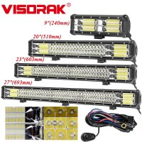 VISORAK 9 21 23 27 Tri row Offroad LED Light Bar 4x4 4wd Truck SUV ATV LED Light Bar For Truck SUV ATV 4WD 4x4 Car Offroad