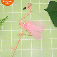 Flamingo Happy Birthday Cake Topper Pink Feather Cupcake Decoration Baby Shower Girls Gifts Party Supplies