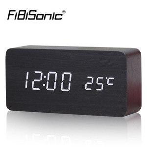 Image 1 - منبهات FiBiSonic مع ميزان الحرارة ، ساعات خشبية Led خشبية ، ساعة طاولة رقمية ، ساعات إلكترونية بتكلفة