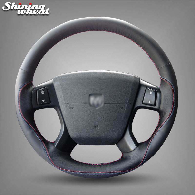 Shining wheat Black Genuine Leather Red Blue Thread Car Steering Wheel Cover for Dodge Journey 2009-2011 shining wheat black genuine leather car steering wheel cover for fiat bravo 2007 2011
