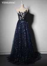VENSANAC 2018 O Neck Crystals A Line Sequined Long Evening Dresses Lace Party Flowers Sash Sweep Train Prom Gowns