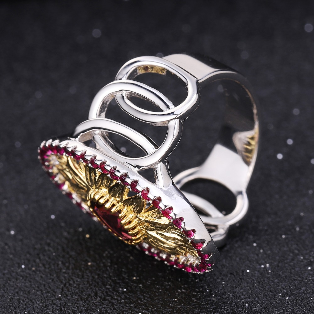 Image 3 - GEMS BALLET 1.00Ct Natural Rhodolite Garnet Sunflower Rings 925  Sterling Silver Handmade Ring for Women Bijoux Fine JewelryRings   -