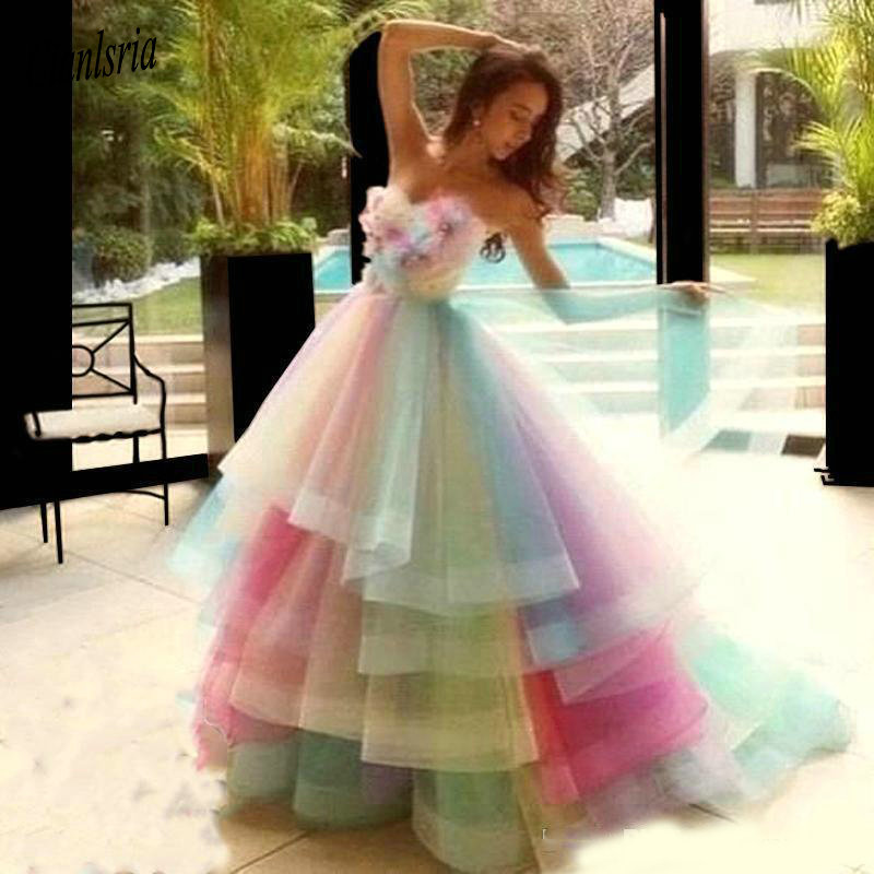Ball-Gown Quinceanera-Dresses Colorful Sweet Flowers Organza Princess Pageant Rainbow