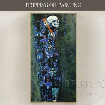 Best Quality Hand-painted Death Oil Painting on Canvas Reproduction Gustav Klimt Death Oil Painting Abstract Death Oil Painting