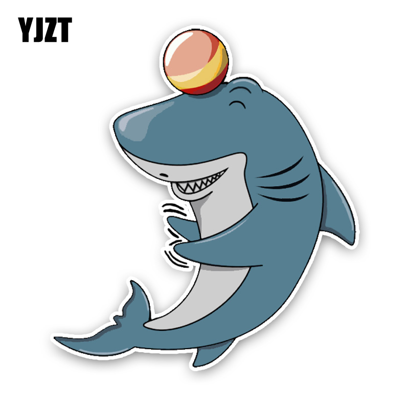 YJZT 14.5*16.3CM Fashion Lovely Shark That Plays The Game Cartoon Colored PVC Car Sticker Graphic Decoration C1-5389