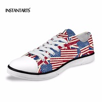 INSTANTARTS UK US National Flag Printing Lace Up Classic Low Canvas Shoes Homme Comfortable Men S