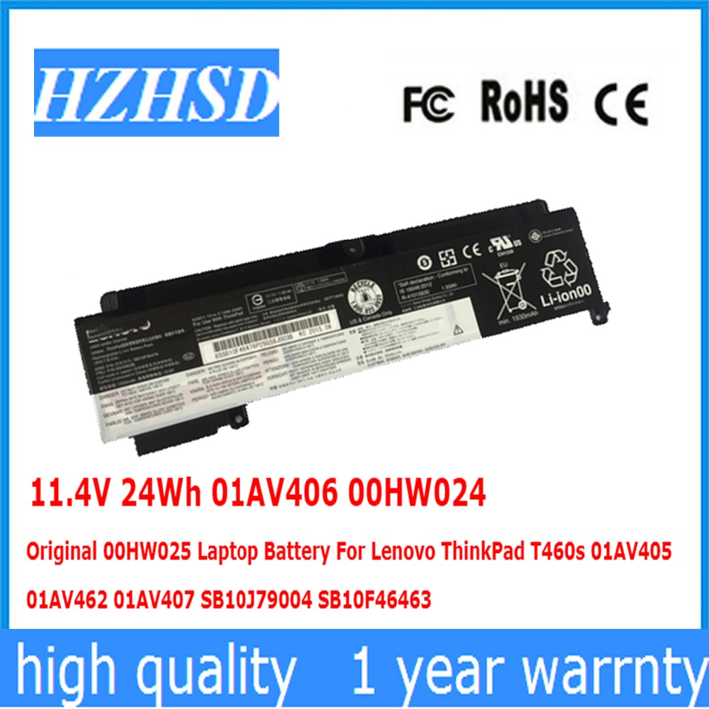 11.4V 24Wh 01AV406 00HW024 Original 00HW025 Laptop Battery For Lenovo ThinkPad T460s 01AV405 462 01AV407 SB10J79004 SB10F46463 11.4V 24Wh 01AV406 00HW024 Original 00HW025 Laptop Battery For Lenovo ThinkPad T460s 01AV405 462 01AV407 SB10J79004 SB10F46463