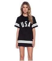 FFTAIQI New Plus Size Loose Summer Woman Wear Fashion USA Printing Leisure All Match Women Long