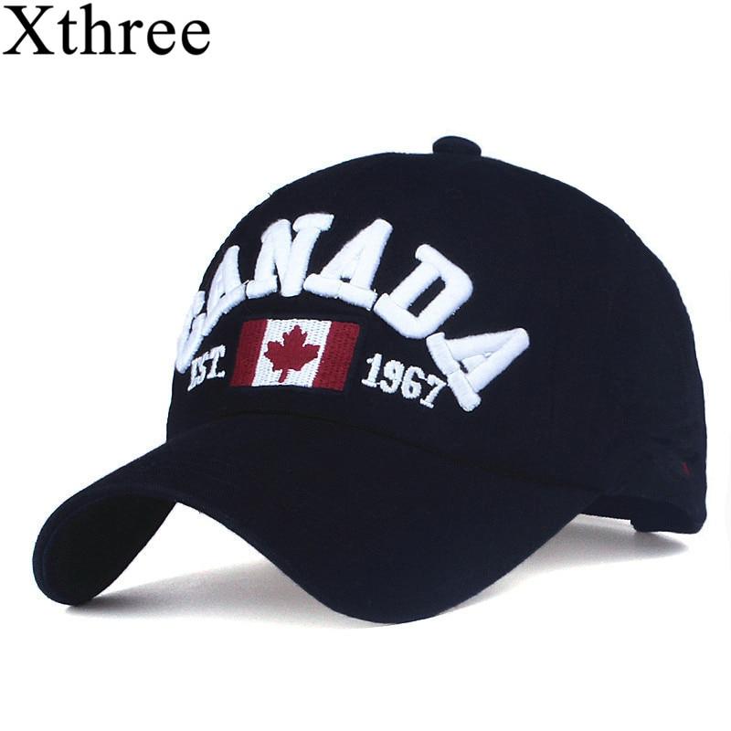 XTHREE marca canadá carta bordado gorras de béisbol Snapback sombrero para hombres mujeres ocio sombrero casquillo al por mayor