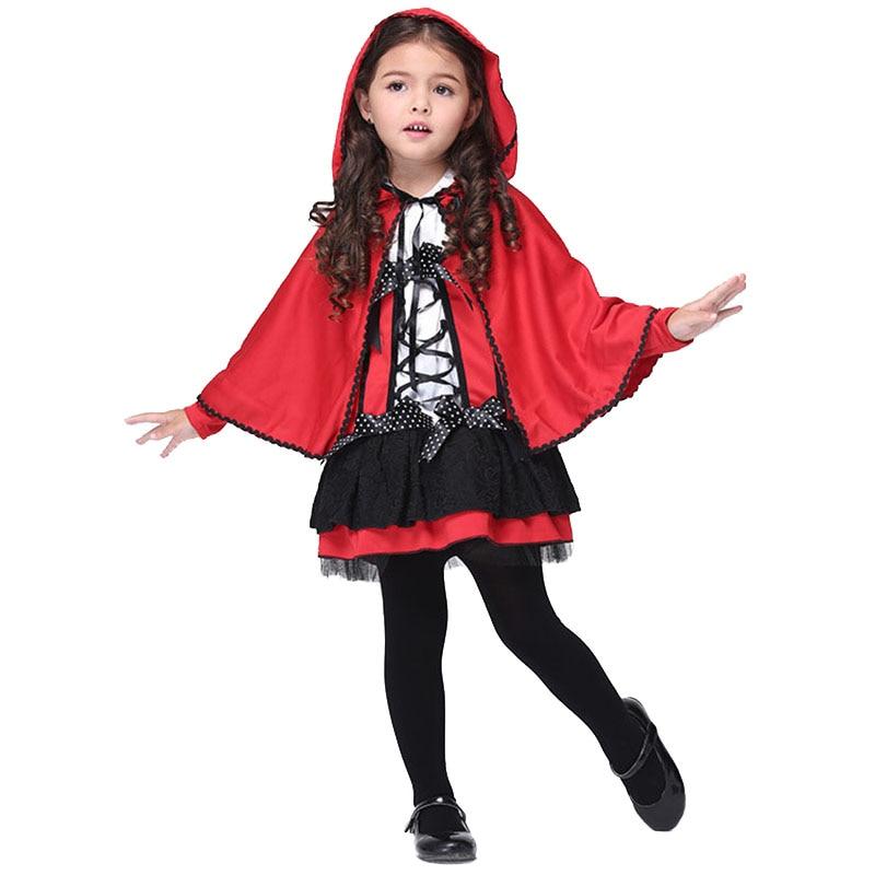 2017 Halloween Costume for Kids Little Red Riding Hood Dress Girls Cartoon Costumes Cute Cloak Dress Carnival Party Cosplay