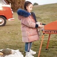 2018 новое зимнее пальто для малышей Детское пуховое пальто пуховик на белом утином пуху 90% года для девочек теплая куртка для малышей одежда