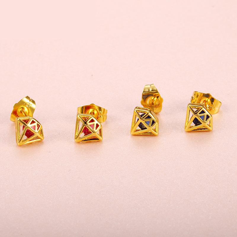 Geometric Red And Blue Small Jewelry Factory Direct Selling earring Fashion Jewelry Japanese And Korean LW12