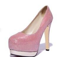 Женские туфли-лодочки модные туфли на платформе и высоком каблуке элегантные женские вечерние туфли с круглым носом размеры 33-47 T-8013