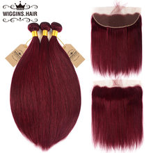 #99j Burgundy Colored Straight Hair Bundles With Frontal Wiggins Brazilian Remy Hair Red Human Hair Bundles With Lace Frontal(China)