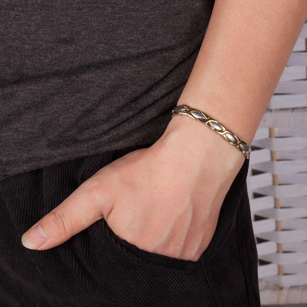 Vinterly Magnetische Armband Voordelen Goud-kleur Roestvrij Stalen Armband Vrouwen Ketting Energie Germanium Charm Armband Sieraden