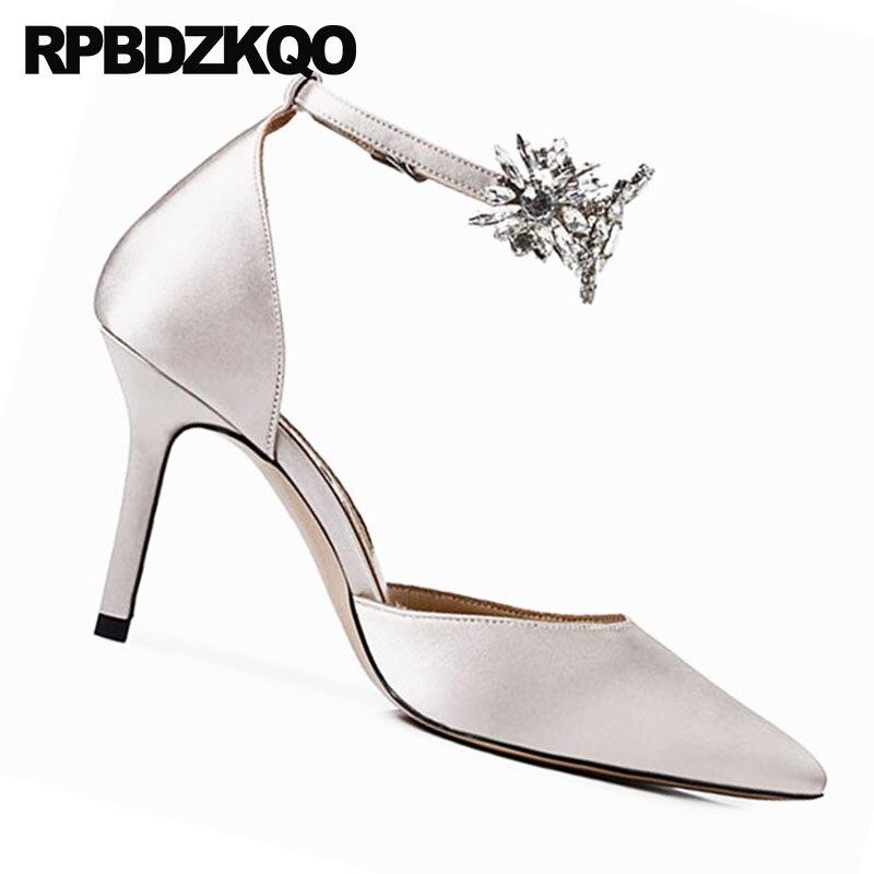 Stiletto Designer Pointu Talons Luxe De Nu Bout Haute Cristal Strass Nude Cm Satin Femmes Cheville Diamant Chaussures Bracelet Pompes Marque 8 xqOU4AAwY