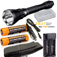 Fenix TK47 UE Ultimate Edition 3200 Lumen LED Tactical Flashlight with ARB L18 3500 battery, ARE X2 charger, car charger