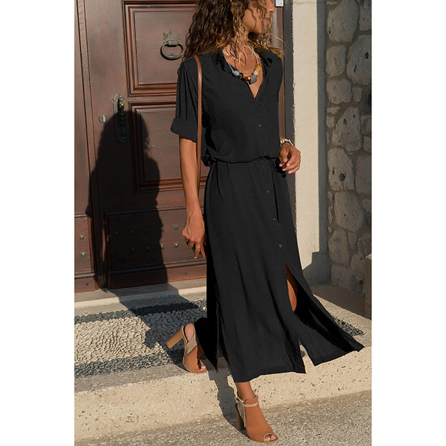 New Hot Fashion Button Long Dress Elegant Women Dresses Casual Work Dress Plus Size Pocket Slim Black Dresses Women Long Sleeves