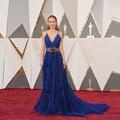 Gorgeous Brie Larson 2017 Oscars Red Carpet Dresses Fashion Spaghetti Straps Royal Blue Evening Gown Abendkleider zl-1
