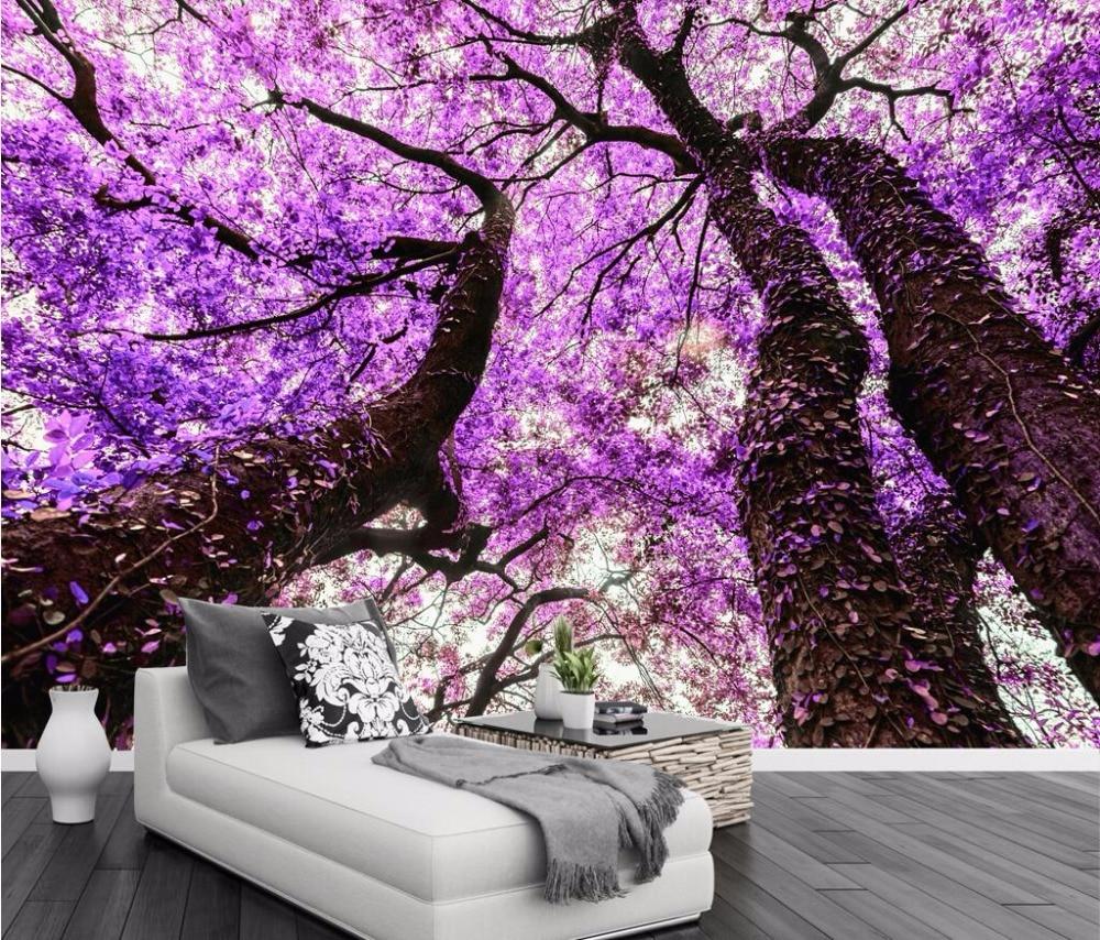 Beibehang Custom Wallpaper Purple Flower Tree Tv Background Wall