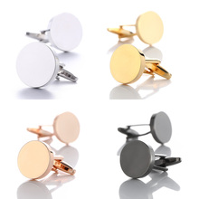 2019 New Simple Style Black Cufflinks for Mens Shirt Cuff Buttons Business Metal Copper Brass Cuff links Men Gifts Gold Gemelos decepticon style cuff links buttons pair