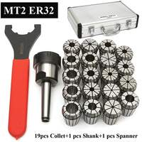 New 19Pcs ER32 Spring Collet Set with MT2 ER32 M10 Collet Chuck Taper Holder for CNC Engraving Machine and Milling Lathe Tool