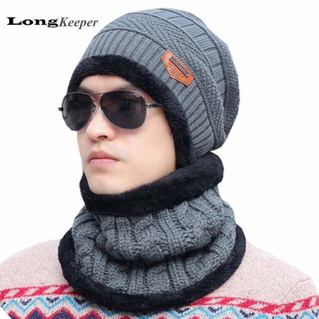 Men's Warm Hats Beanie 2016 Winter Knit Wool Hat for Men Solid Caps Beanie Knitted Caps Outdoor Sport Warm Baggy Cap AA11