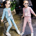 The spring and autumn period and the children's wear children's suit Girls printed cuhk children's cotton long sleeve two-piece