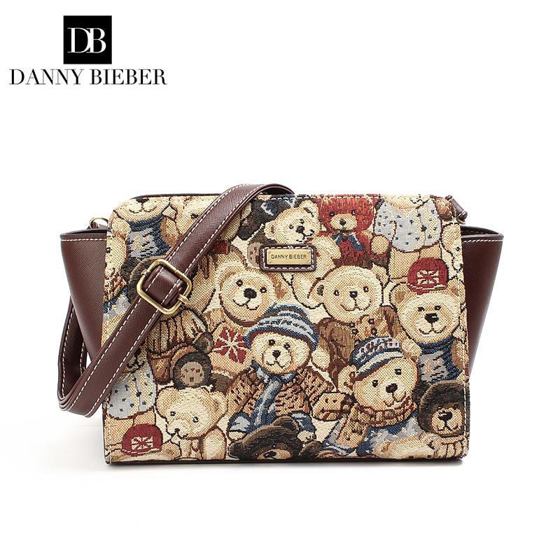 ФОТО Little bear Women Bag Fashion Women Messenger Bags High  Quality PU Leather Crossbody Quiled Crown bags Jacquard canvas bags