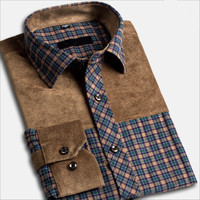 Spring Autumn New Men S Fashion Cotton Plaid Shirt Middle Aged Checkered Patchwork Long Sleeved Shirts