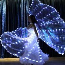 2019 New Women Belly Dance Led Dance Wings Butterfly Wing Light Up Lamp Props Stafe Performance Accessories Wings With Sticks