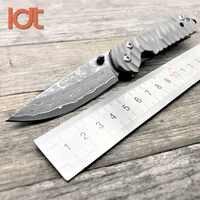 LDT Sebenza 21 Folding Messer Damaskus Klinge Titan Griff Taktische Überleben Messer Camping Tasche Outdoor Jagd Messer Werkzeuge