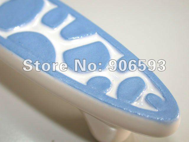 Купить с кэшбэком 12pcs lot free shipping blue speckle ceramic kitchen handles