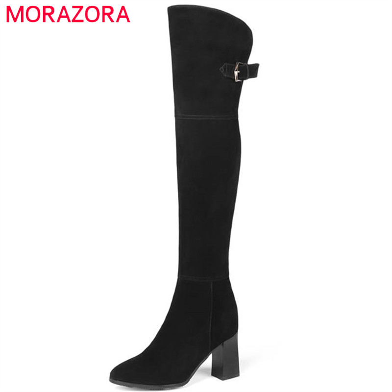 MORAZORA 2018 top quality cow suede leather boots women zip sexy over the knee boots high heels shoes woman autumn winter boots купить недорого в Москве