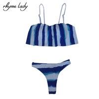 Rhyme Lady Swimsuit Women Ruffles Sleeve Sexy Brazilian Bikini Set Maillot De Bain Femme Bathing Suit