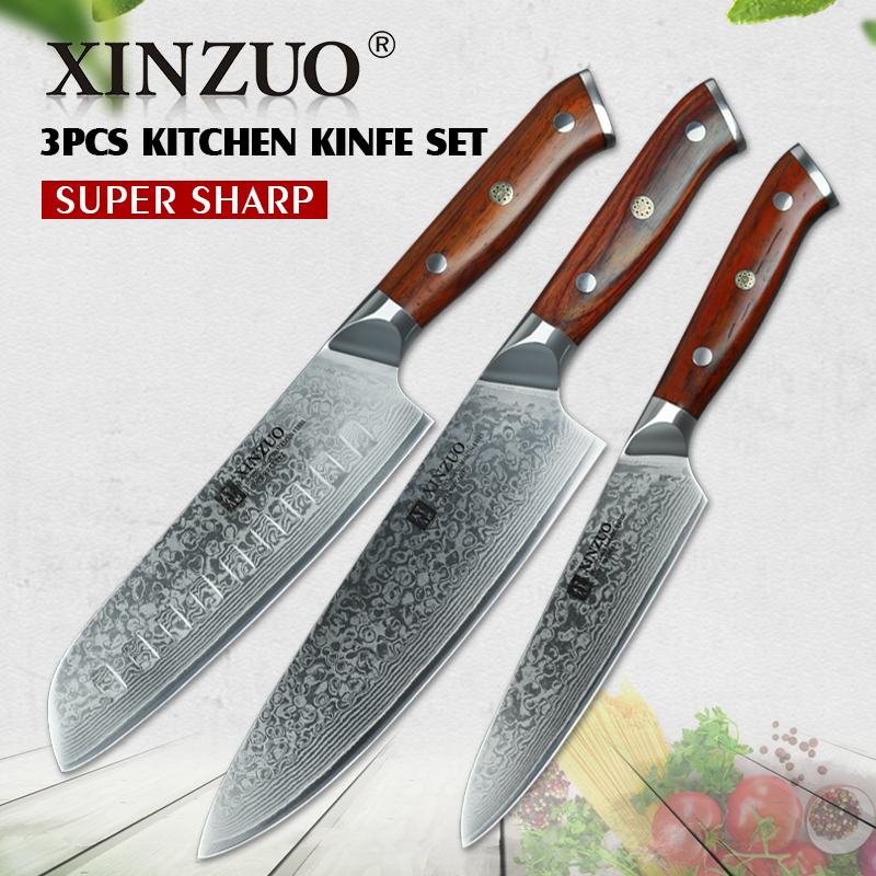 highest rated kitchen knives xinzuo 3pc kitchen knife set damascus steel chef knives professional chef s knife santoku 9927