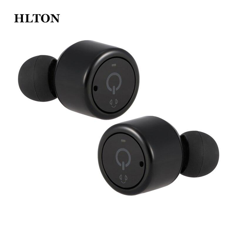 HLTON 1 Pair Mini Bluetooth Wireless Headset Handfree Stereo Earphones CVC Noise Cancel Earbuds For Iphone Samsung Xiaomi