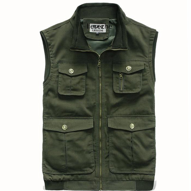 Many Pockets Of Multifunctional  Vest Vest Mens Cowboy Mature Men Casual Out Vest Many Pockets