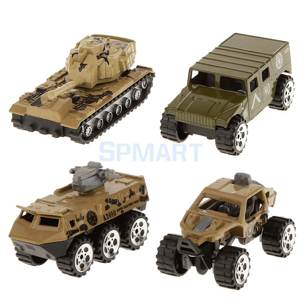 4pcs 1:64 Diecast Tank Truck Cars Model Kids Toys Collectibles
