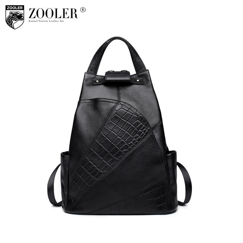 ZOOLER backpack women genuine Leather school bag Alligator high quality double strap bags for girl brand travel bags B151 hot sale women s backpack the oil wax of cowhide leather backpack women casual gentlewoman small bags genuine leather school bag