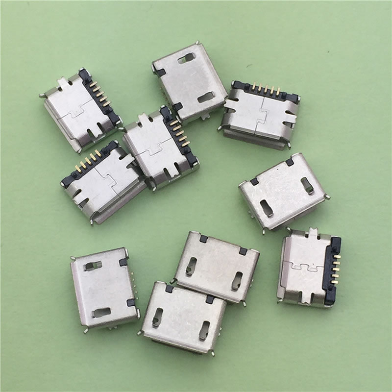 100Pcs Mini USB Type B Female 5-Pin SMT SMD Socket Jack Connector Port PCB Board